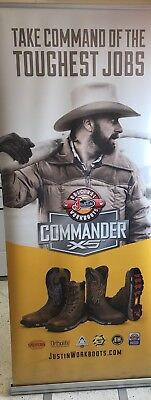 Justin Boots Work Boots Commander 83 X 34 Retractable Banner Stand Advertisement