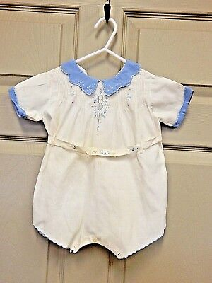 Vintage Infant/Baby Boys White Cotton One-Piece Romper w/Blue Trim, Embroidery