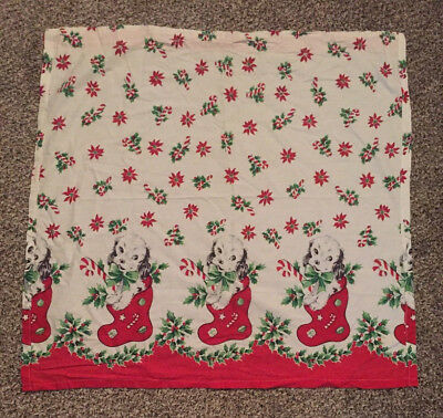 Vintage Handmade Christmas Cotton Curtains 32 x 31 Holly Puppies Puppy Stocking