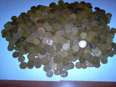 over 7lbs Circulated 1940s-1950s Lincoln Copper Wheat Pennies