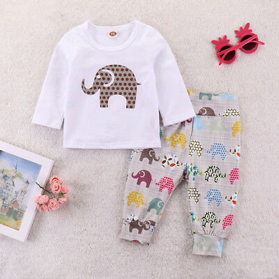 US Kids Toddler Girls Boy Baby Romper Long Pants 2pcs Outfits Set Casual Clothes