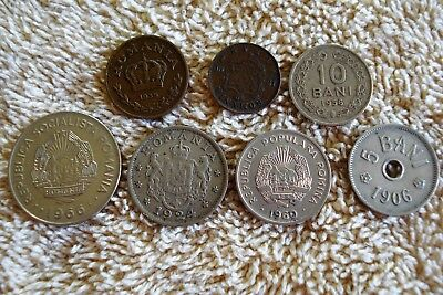 7 Different Romanian Coins 1900-1966