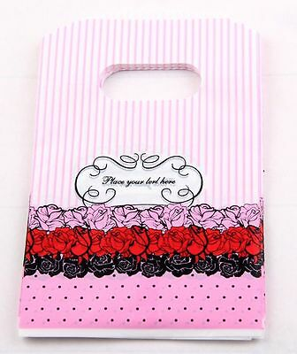 Free Ship 50Pcs Heart Plastic Shopping/Gift Small Packing Bag 15x9cm