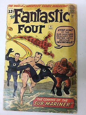 """Fantastic Four (1st Series) #4 """"The coming of the Sun-Mariner!"""" Authentic"""