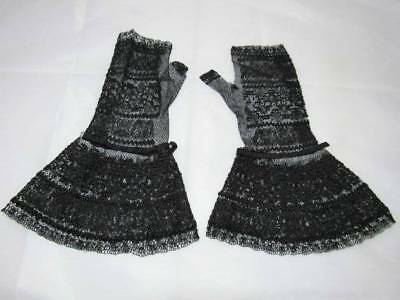 Antique Victorian Fine Lace Fingerless Gloves/ Mitts