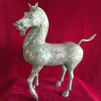 antique Chinese ancient bronze liu silver high head horse.