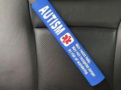 Autism Medical Alert Seat Belt Safety Cover Special Needs ICE