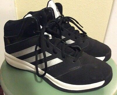 Men's Black Leather Adidas High Tops W/ Silver Strips Size 8