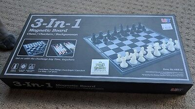 3 in 1 Travel Magnetic Chess, Checkers and Backgammon Set - 9.75""
