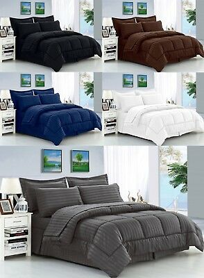 6 Piece or 8 Piece Dobby Stripe Bed in a Bag Comforter Bedding Set with Sheets