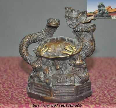 "3""Old China bronze Gilt lucky God beast animal Xuanwu Dragon turtle snake statue"