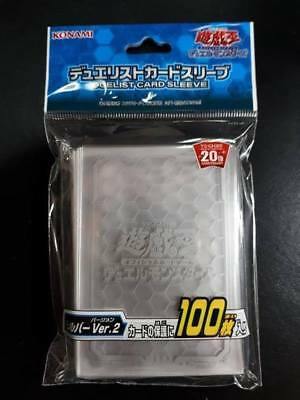 Yugioh Konami OCG Duelist Card Sleeves - Clear Silver Ver.2 - 100pcs Sealed!