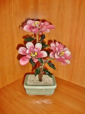 VINTAGE Chinese Asian pink bonsai glass jade tree flower plant, 9 inches tall