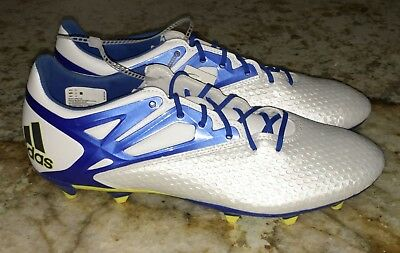 on sale fc329 74105 ADIDAS Messi 15.2 FG   AG Soccer Cleats Boots White Blue Black NEW Mens Sz  8.5