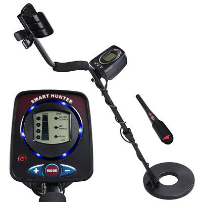 LCD Metal Detector LED Light Gold Treasure Hunting Search w/ Pinpointer INCD VAT