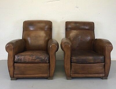 Antique Pair Of French Leather Tan Club Chairs
