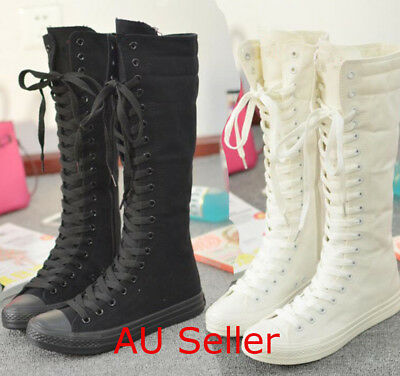 AU Women Canvas Punk Tall Knee High Mid Calf Boots Flat Sneakers Lace up Shoes
