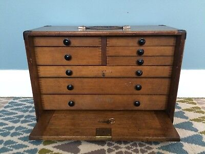 Superb Moore & Wright Engineers Watchmakers Tool Cabinet Box Excellent Condition