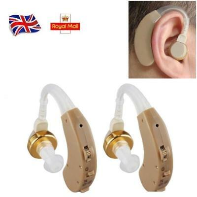 2pcs Digital Hearing Aid Adjustable Behind the Ear BTE Sound Voice Amplifier