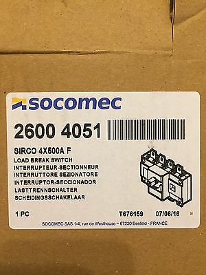 SOCOMEC SIRCO 4 Pole 500 amp Isolater 2600 4051 Load Break Switch New 500Amp