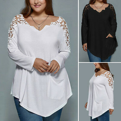 Plus Size Womens Long Sleeve Loose Blouse Tops Ladies T-Shirt Pullover Jumper US