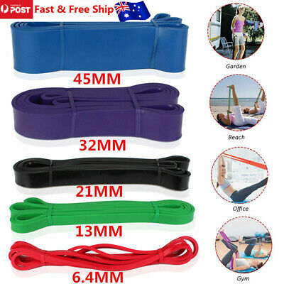 Set of 5 Heavy Duty Resistance Band Loop Power Stretch Rubber Mobility Workout