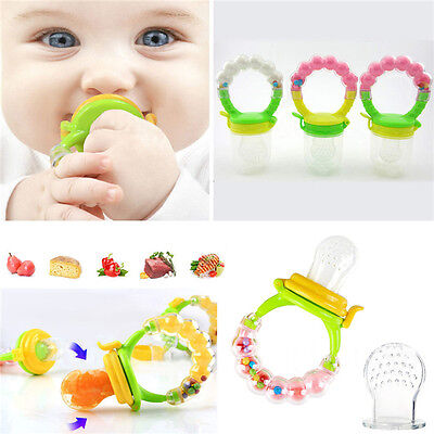 Baby Dummy Pacifier Food/Fruit Feeder,Nibbler,Weaning Teething with Rattle GS