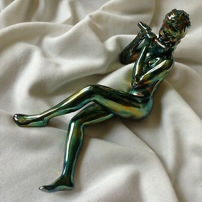 Antique Porcelain Art Deco Nude Lady Flute Music Eosin Iridescent Green Gold Old