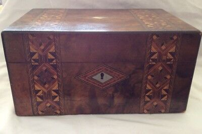 Victorian veneered sewing/jewellery box.Tunbridge bands.Good outer condition