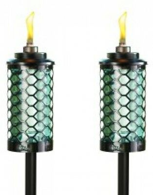 TIKI Brand 65-Inch Honeycomb Glass Torch Blue 2-pack