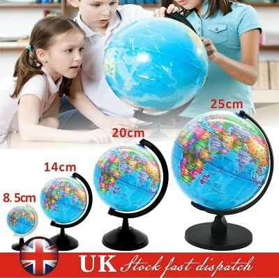 8.5-25cm Rotating Earth Globe World Map Swivel Stand Geography Educational Toy