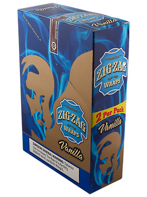Zig Zag Cigar Wraps 2 Per Pack.  Full Box Of Vanilla