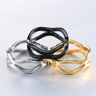 Unisex Men Women's Stainless Steel Three Tone Punk Silver Ring Jewelry Size 5-12