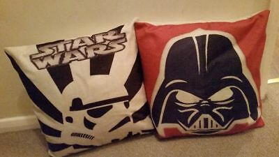 Excellent 2 x Star Wars Darth Vader Stormtrooper Children's Complete Cushions
