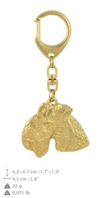 Lakeland Terrier - gold plated keyring with image of a dog, quality, Art Dog USA