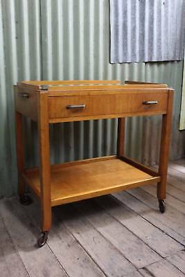 An Art Deco Two Tier Auto Trolley with Drawer & Glass Top
