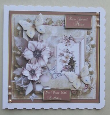 Handmade 50Th Birthday Card With 3D Flowers For Special Mum Or Any Recipient