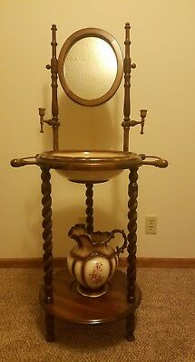 Wash Basin Stand With Mirror & Pitcher & Basin Amazing Rare Vintage
