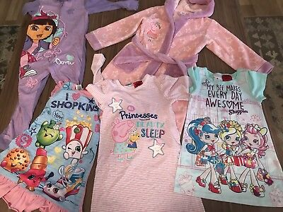 Peppa Pig Dora The Explorer Shopkins Age 5 Dressing Gown Nightie Pyjamas Girl