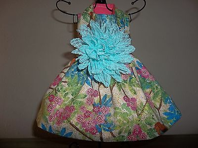 Bird Floral Dress Handmade for dogs in sizes xs to xl