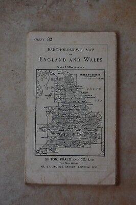 Antique Bartholomew's Map of Sussex, Sheet 32, Dated 1919.