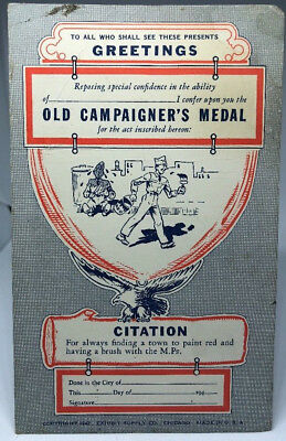 WW2 WWII US U.S. Old Campaigners Medal Post Card,Original,Soldier,Military,Army