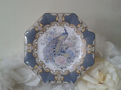 Vintage decor plate with peacock and peonies octagonal shape Japan