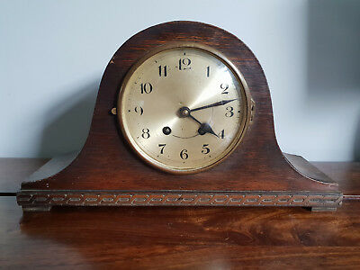 Antique 1930's Oak Mantle Clock with Original Pendulum (Vintage Clock Wall Desk)