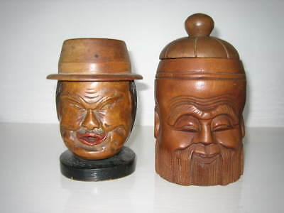 2 Carved- Wood Heads 'triad' And 'confucius' Tobacco Jars - Early 20Th Century?