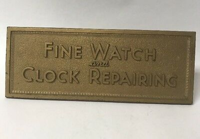 VTG FINE WATCH and CLOCK REPAIRING STORE COUNTER TOP SIGN