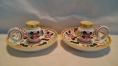 2 Vintage Early Provincial PY Ucagco Rooster And Roses Candle Holders