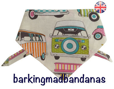 Handmade Dog Bandana Dog Bandanas, Gift for Dogs, Campervan Orange & Green UK