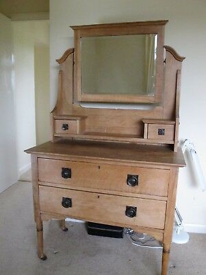 Antique Oak Dresser Chest Of Drawers With  Mirror