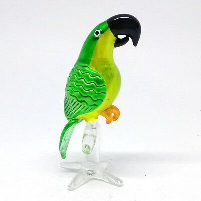 Figurine Glass Green Parrot Bird Statue Handicraft Miniature Hand Blown